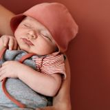 Gray Label SS20 Baby Hat with Strings  Faded Red
