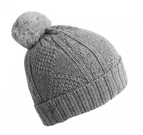 Collegién  Bonnet en laine avec pompon Grey