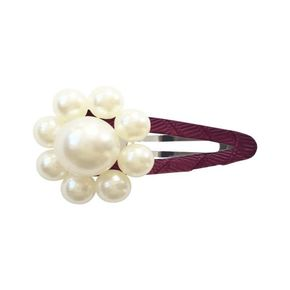 MIlledeux AW19 PEARL FLOWER – SNAP CLIP – PEARL / BURGUNDY