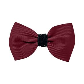 MIlledeux Small Alligator Clip Bow Wine Black Urban Christmas