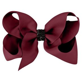 MIlledeux Large Alligator Clip Bow Wine Black Glitter Urban Christmas