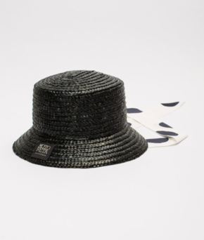 Motoreta SS19 Vejer Hat Black Straw with Polka Dots Tie