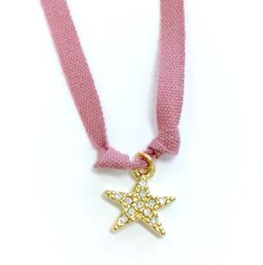 Atsuyo et Akiko AW17 Star Dia Ribbon Necklace Rose