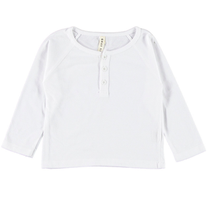 Gray Label Henley Long Sleeve Tee White