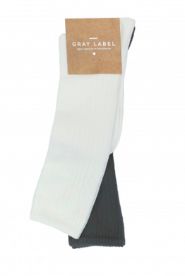 Gray Label Long Ribbed Socks Cream and Nearly Black