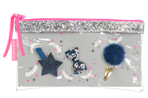 Luciole et Petit Pois Glitter Pouch Dark Blue