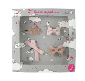 Luciole et Petit Pois Hair Clip Gift Box Powder Pink Size S