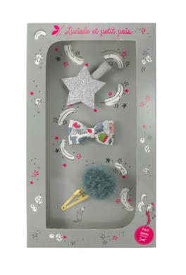 Luciole et Petit Pois Hair Clip Gift Box Silver Size M