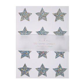 Meri Meri Silver Glitter Star Stickers
