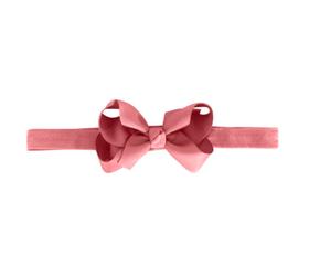 MIlledeux Medium Boutique Bow Elastic Headband Dusty Rose