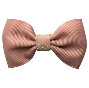 MIlledeux Small Alligator Clip Bow Antique Mauve - Colored Glitter Collection