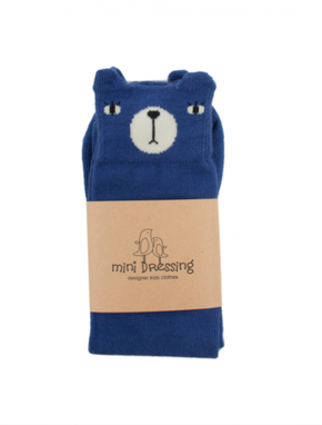 Mini Dressing Bear Knee Socks Blue
