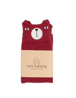 Mini Dressing Bear Knee Socks Red