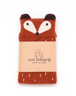 Mini Dressing Fox Knee Socks Brown