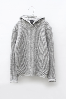 Motoreta Knitted Hoodie Grey and White Marbled