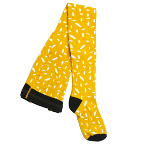 Motoreta Yellow and White Tights with Abstract Print