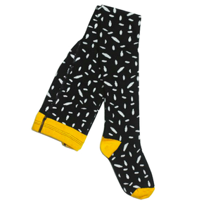 Motoreta Black and White Tights with Abstract Print