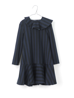 Motoreta Dress Mia Black and Blue Stripes