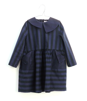 Motoreta Dress Yumiko Black and Blue Stripes