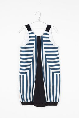 Motoreta SS18 Lucia Dress Blue and White Stripes