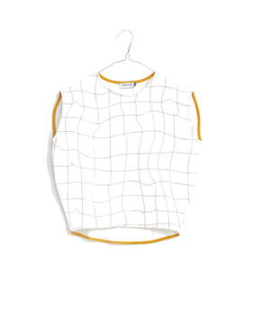 Motoreta T-Shirt Cica White with Black Grid