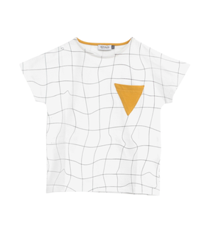 Motoreta T-Shirt Mirto White with Black Grid