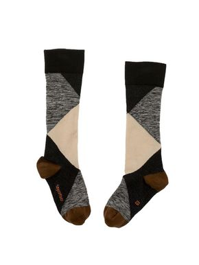 TinyCottons Altiplano Geometric High Socks Black and Beige