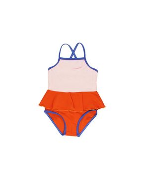 Tiny Cottons Frill Swimsuit Pale pink and red