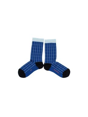 Tiny Cottons Grid High Socks Blue