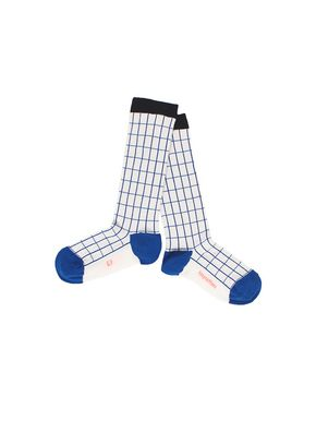 Tiny Cottons Grid High Socks Off White