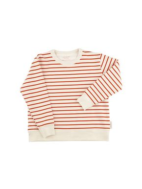 tinycottons SS18 Small Stripes Swatshirt Off-White Carmine