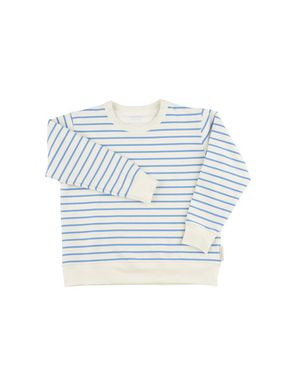 tinycottons SS18 Small Stripes Swatshirt Off-White Cerulean Blue