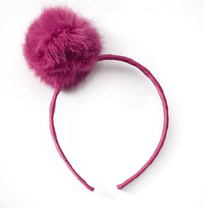 Verity Jones Large Pom Pom Alice Band Raspberry Pink