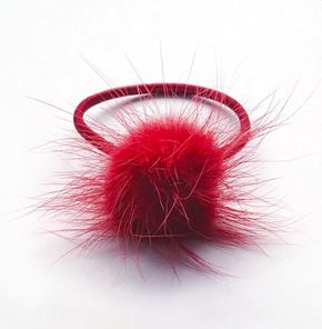 Verity Jones Pom Pom Hair Elastic Small Scarlet