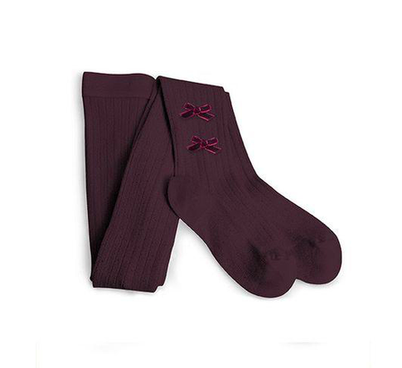 Collegién AW19 Tights Burgundy with a Bow