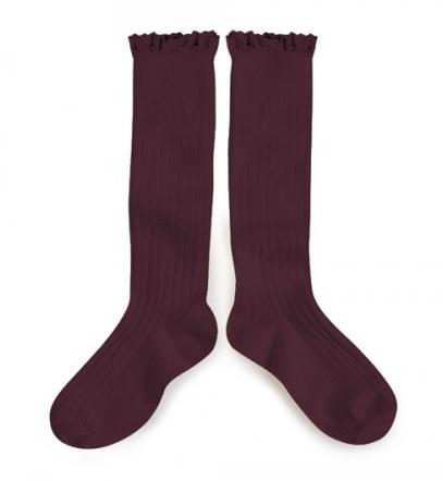 Collegién Knee Socks Aubergine with Lace