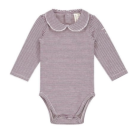 Gray Label AW18 Baby Onesie with Collar Plum Scream Stripes