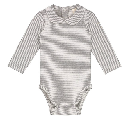 Gray Label AW18 Baby Onesie with Collar Grey Melange Cream Stripes