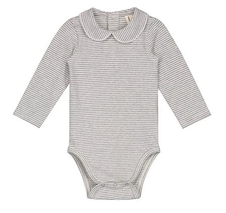 Gray Label AW18 Baby Onesie with Collar Grey Melange Cream Stripes