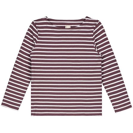 Gray Label AW18 L/S Striped Tee Burgundy White