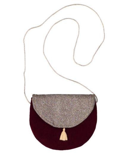 Luciole et Petit Pois AW19 Half Moon Bag Glitter Velvet Burgundy
