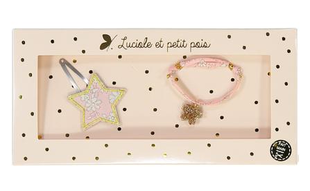 Luciole et Petit Pois Liberty Hair Clip and Bracelet Gift Box Set Pink