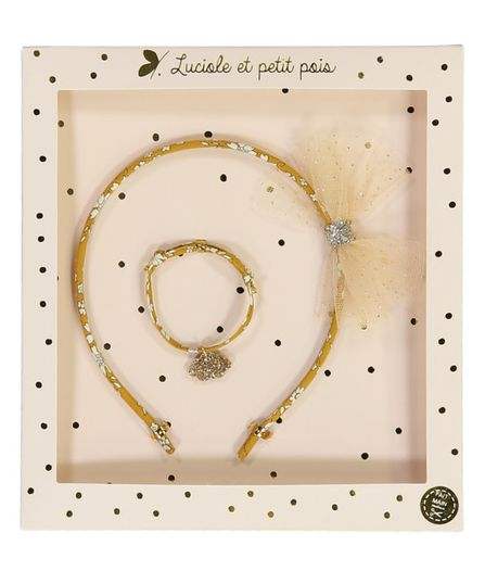 Luciole et Petit Pois Headband Gift Box Set Liberty Capel Moutarde