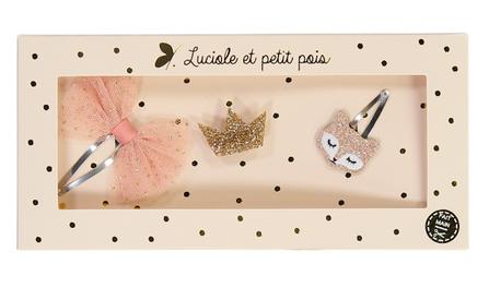 Luciole et Petit Pois Hair Clip Gift Box Pink Fox