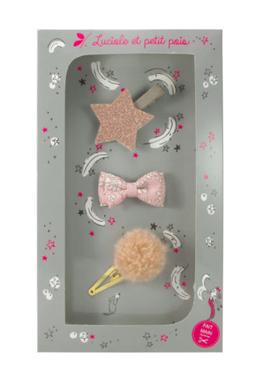 Luciole et Petit Pois Hair Clip Gift Box Powder Pink Size M