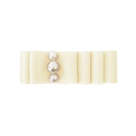 MIlledeux AW19 Medium Layered hair bow – alligator clip – pearl / Ivory