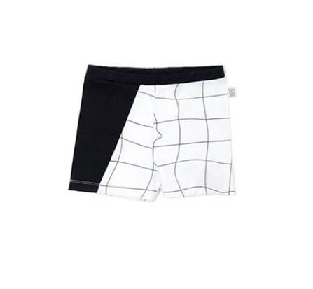 Motoreta Swimsuit Boy White and Black Grid