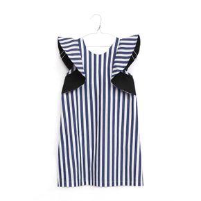 Motoreta SS18 Manuela Dress Blue and White Stripes