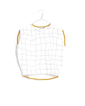 Motoreta T-Shirt Cica White with Black Grid