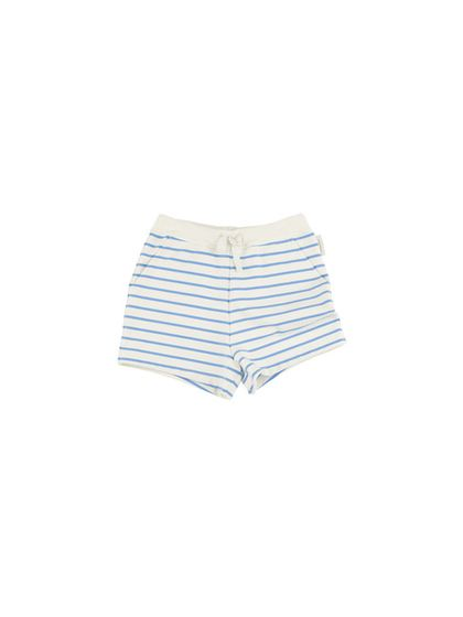 tinycottons SS18 Small Stripes FT Short Off-White/Cerulean Blue